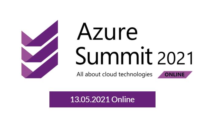 Grafika przedstawia napis Azure Summit 2021 i datę 13 maja 2021 r.