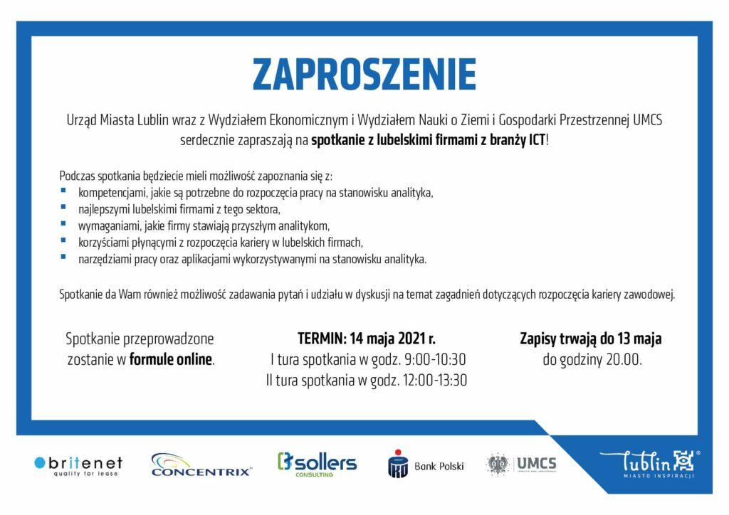 Grafika przedstawia zaproszenie naspotkanie online zprzedstawicielami lubelskiej branży nowoczesnych usług dla biznesu